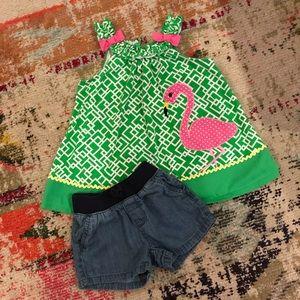 Girls Flamingo Top/Denim Shorts - 5T